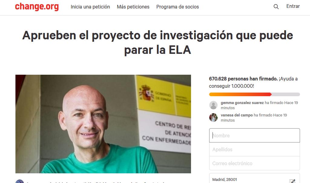 Campaña en Change para ELA